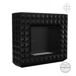 Biokominek EGZUL z kryształami Swarovski 1130x973 czarny mat