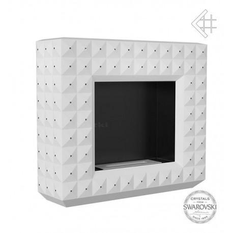 Biokominek EGZUL z kryształami Swarovski biały mat 1130x973