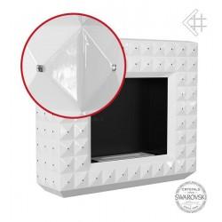 Biokominek EGZUL z kryształami Swarovski biały połysk 1130x973