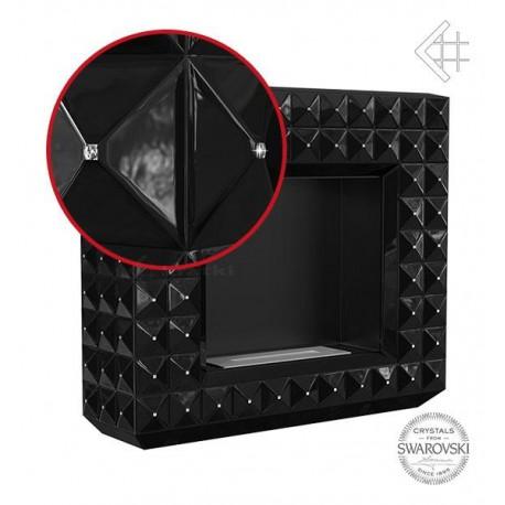Biokominek EGZUL z kryształami Swarovski czarny połysk 1130x973