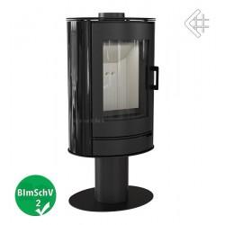 Piec wolnostojący 8 kW KOZA AB S/N z wylotem spalin fi 150 z panelami kaflowymi, kolor czarny