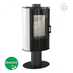 Piec KOZA AB S/N/O 8 kW fi 150 biały obrotowy z panelami kaflowymi i szybą GLASS