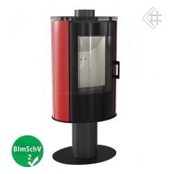 Piec wolnostojący 8 kW fi 150 KOZA AB S/N/O GLASS obrotowy z wylotem spalin i panelami kaflowymi, kolor czerwony